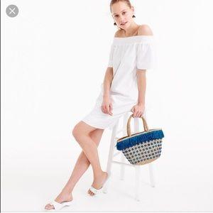 J Crew Off The Shoulder Cotton Poplin Dress
